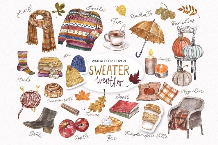 Fall Clipart Watercolor Autumn Cozy Painting Clip art example image 1