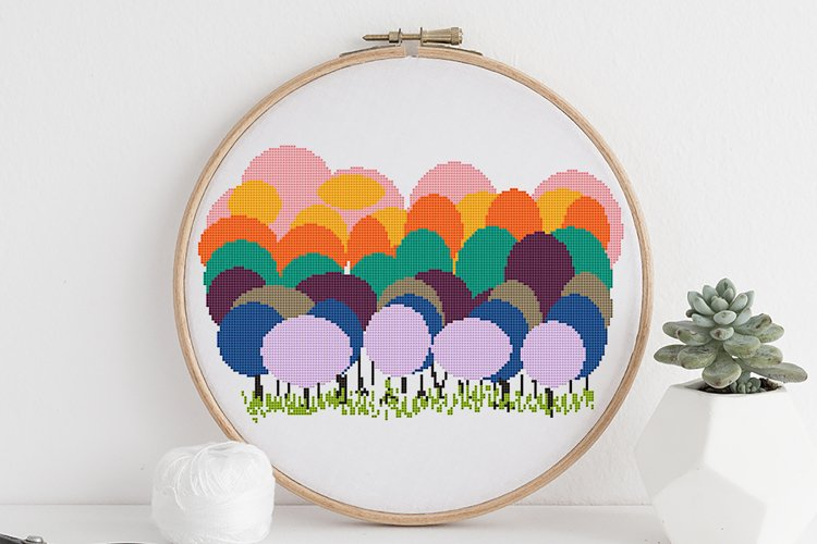 Cross stitch pattern PDF Colorful trees Geometric stitch