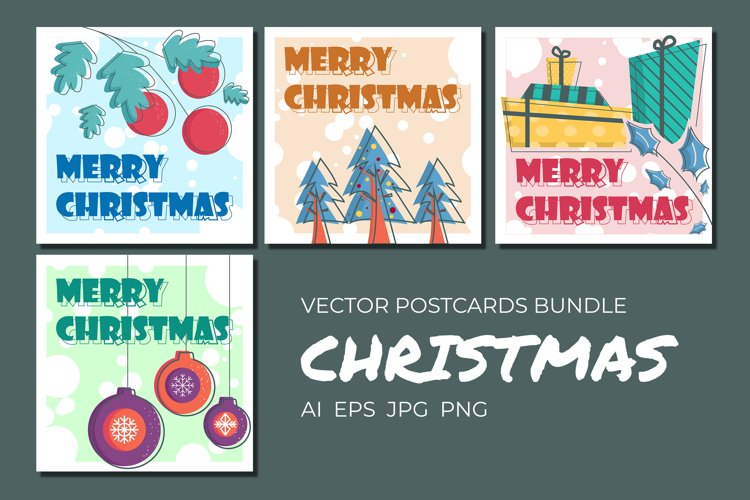 Vector pastel Christmas postcards printable set example image 1