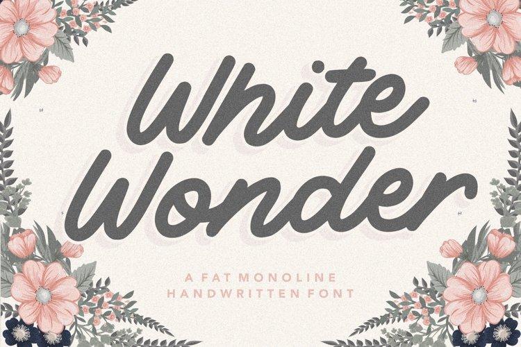 White Wonder Fat Monoline Handwritten Font example image 1