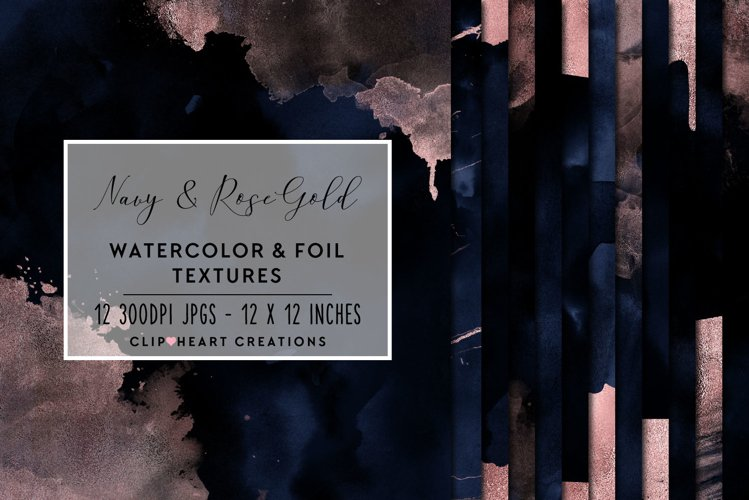 Navy & Gold Watercolor and Foil Papers example image 1