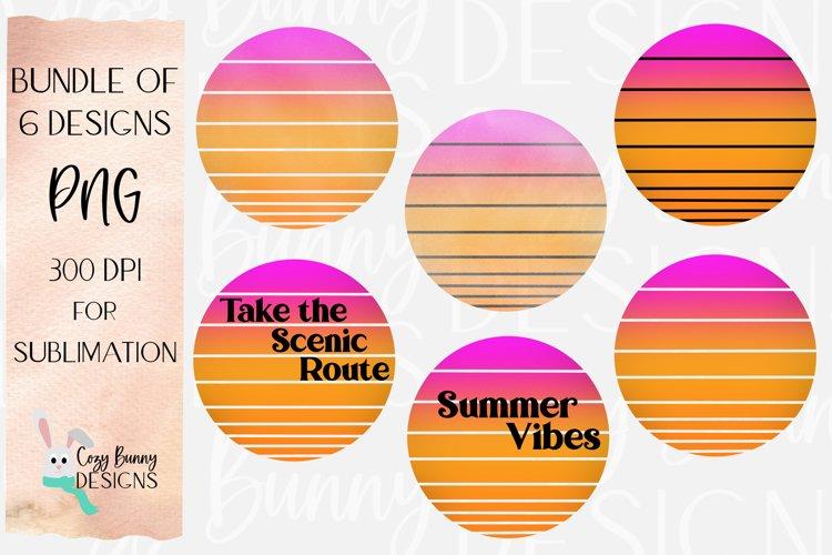 Sublimation Summer Sunset Background Bundle - Retro - 6 PNGs