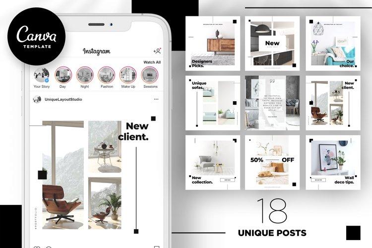 Interior Designer Instagram Posts Template | CANVA example image 1