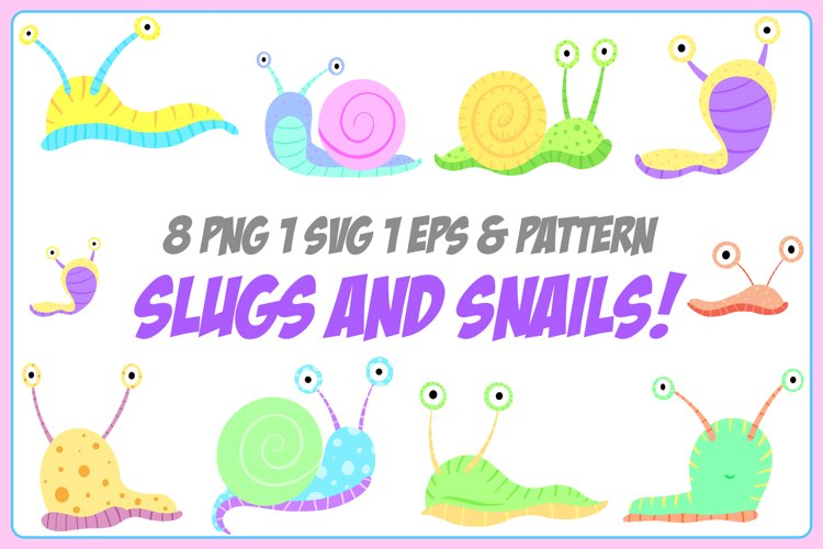Cartoon Snails and Slugs Collection! EPS, PNG and SVG Files example image 1