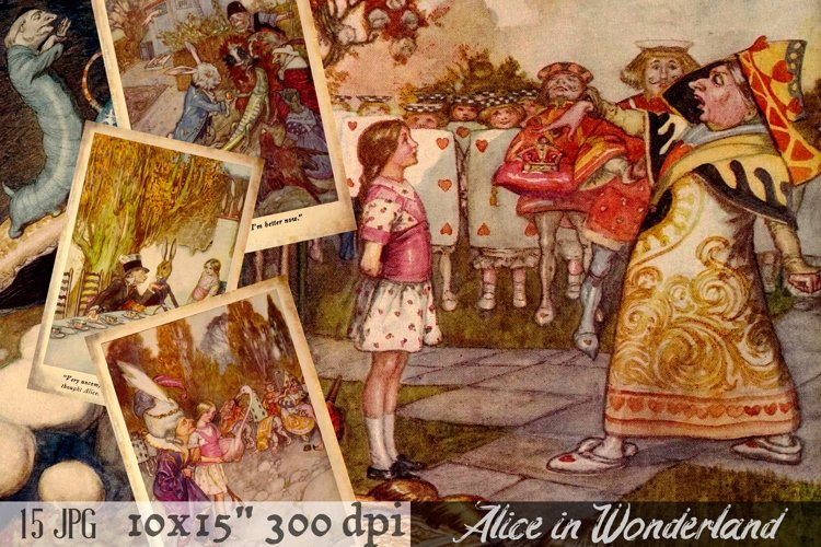 ALICE in Wonderland Clip Art. 15 Digital Paper Pack.