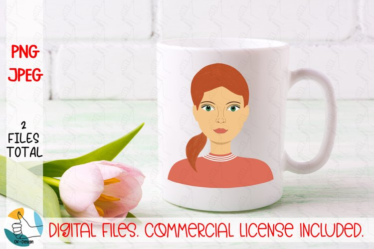 Girl portrait PNG, JPEG file. Woman face clipart. Female PNG example image 1