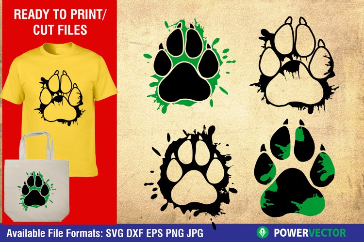 Dog Paw Prints with Splatter Svg Dxf Cut Files for Crafters example image 1