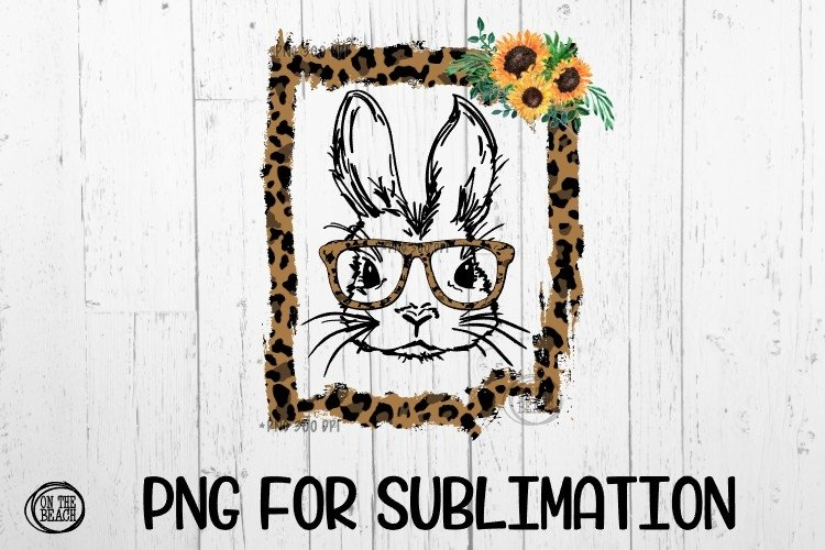 BUNNY - Sunflower - Leopard Torn Frame - PNG for Sub example
