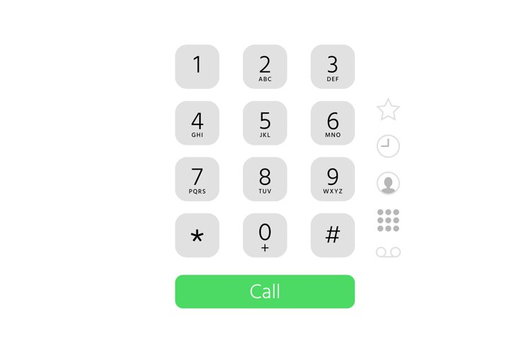 Dial keypad. Touchscreen phone number keyboard interface ins example image 1