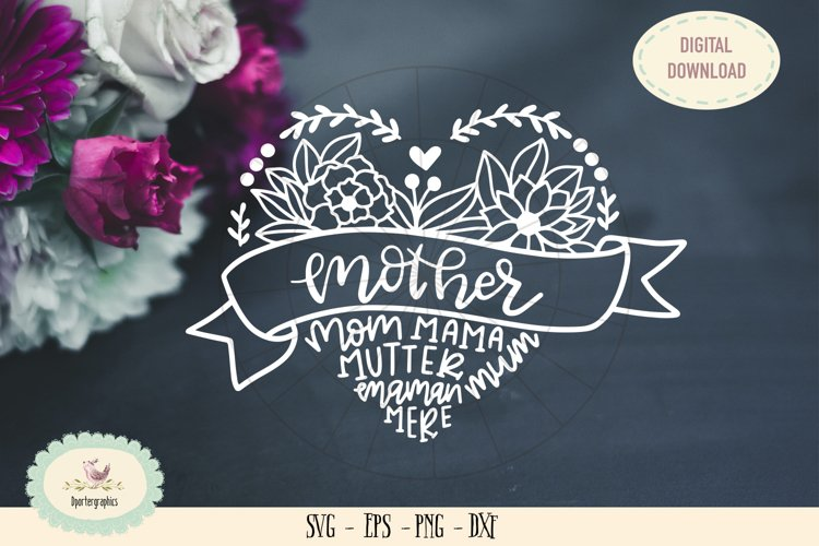 mothers day mom maman mutter mum SVG cut flower heart example image 1