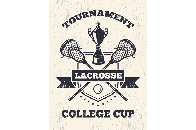 Retro poster of lacrosse theme in sport college example image 1