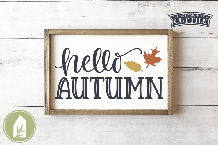 Hello Autumn SVG, Fall Sign SVG example image 1