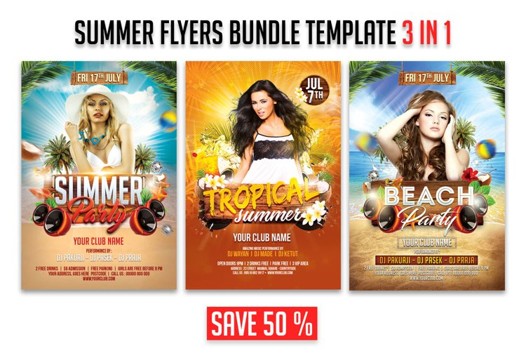 Summer Party Flyer 3 in 1 Bundle Template example image 1