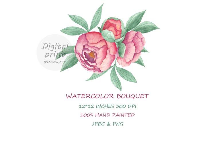 Pink Watercolor Bouquet Peony. Single Floral Arrangement