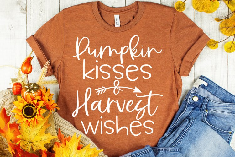 Pumpkin Kisses and Harvest Wishes Fall Svg - Autumn Svg example image 1
