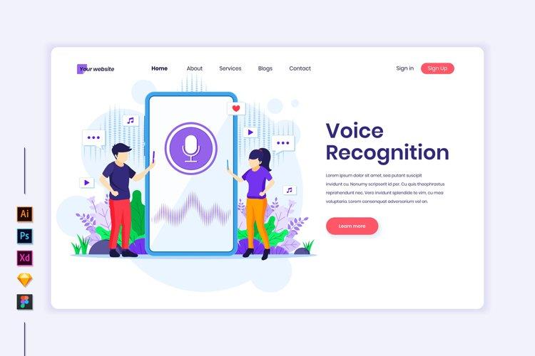 Voice Recognition concept flat Illustration landing page