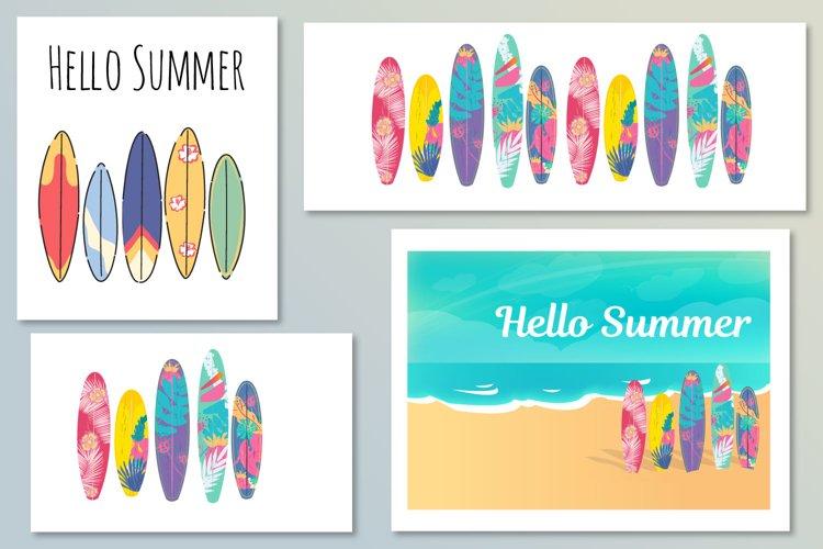 Vector Hello Summer poster. Retro windsurfing boards.