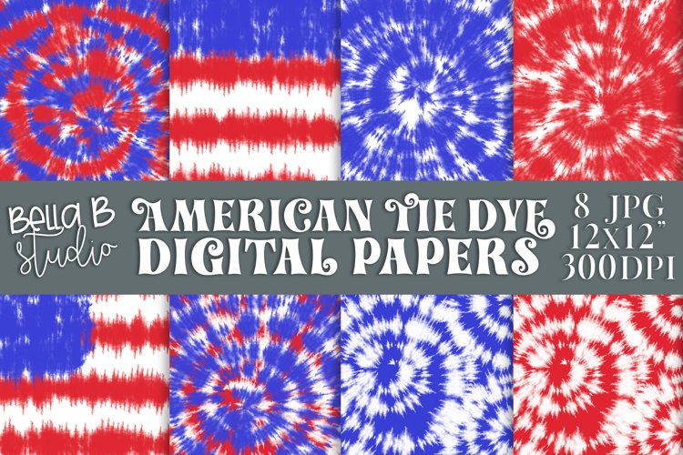 Tie Dye Digital Papers, American Tie Dye