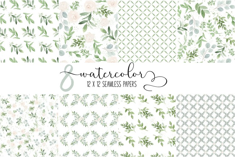 Watercolor Seamless Greenery Botanical Repeatable Patterns