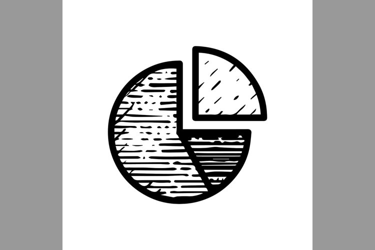 hand drawn circle chart symbol line icon, Vector Illustratio example image 1