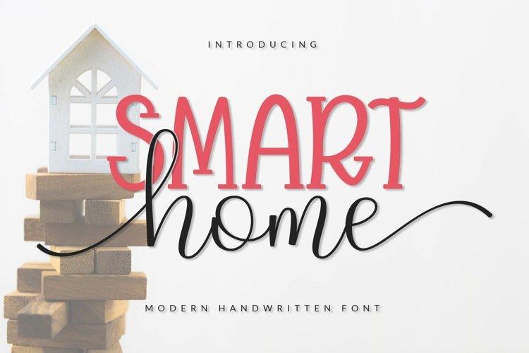 SMART home Font Duo, Font Heart, Script Font, Handwritten example image 1