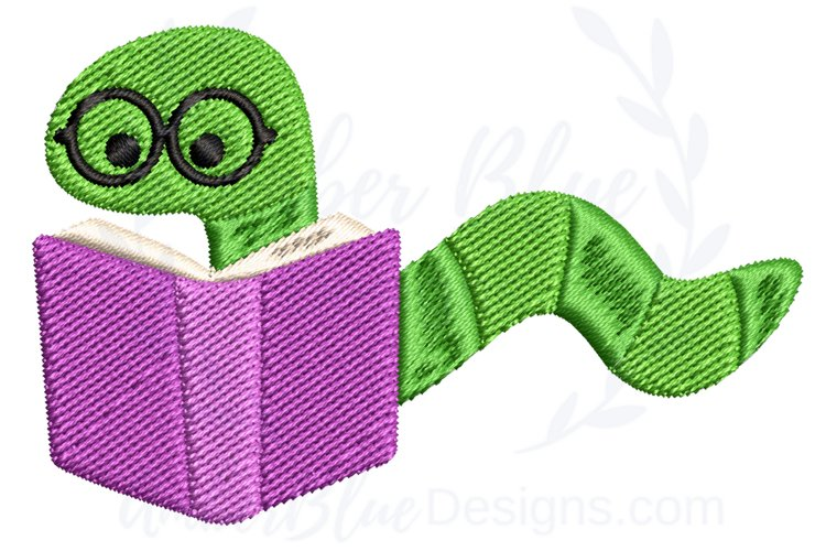 Bookworm Back to School Embroidery Design example image 1