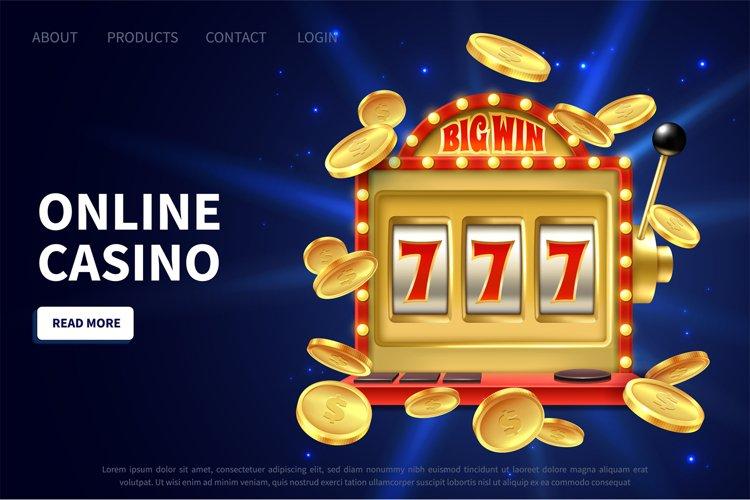 Online casino landing page. Slot machine gamble poster, prom example image 1