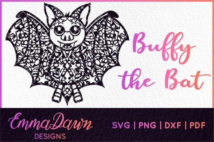 BUFFY THE BAT SVG HALLOWEEN ZENTANGLE MANDALA DESIGN example image 1