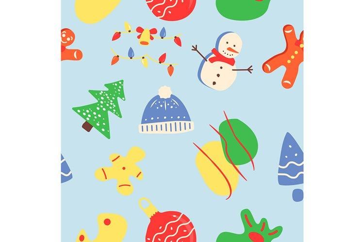 Winter season abstract seamless pattern example image 1