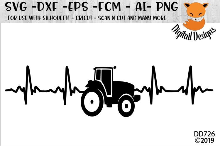Tractor Heartbeat EKG SVG example image 1