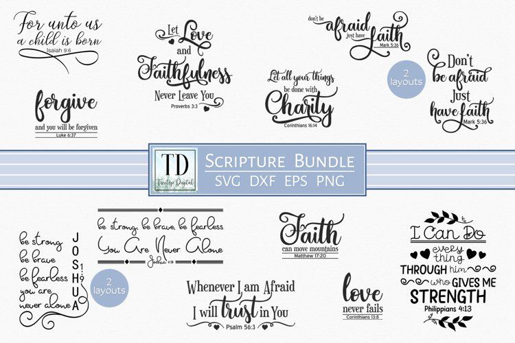 SVG Scripture Bundle, Bible Verse Print and Cutting Files