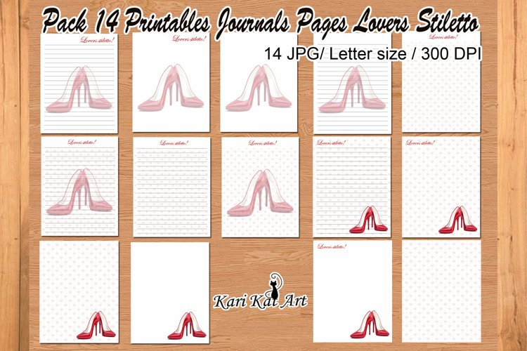 Pack of 14 printable journal pages Lovers Stiletto example image 1