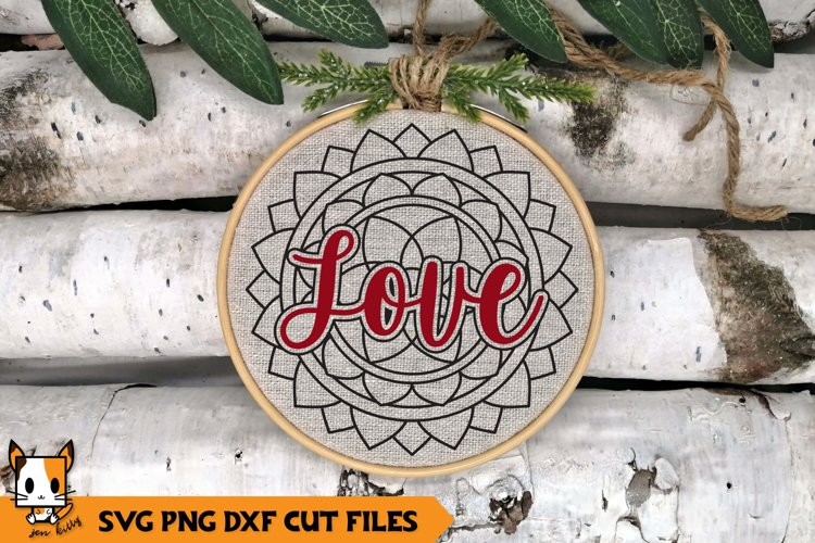 Mandala Christmas Ornament SVG | Love example image 1