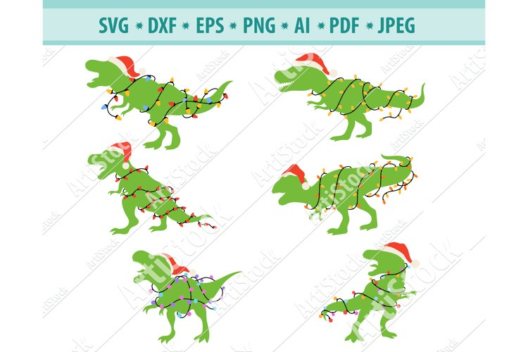 Christmas Dinosaur Svg, Santa T-Rex Svg, T-Rex Png, Eps, Dxf example image 1