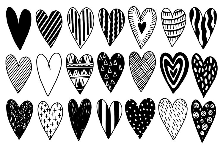Heart set doodle style black color example image 1