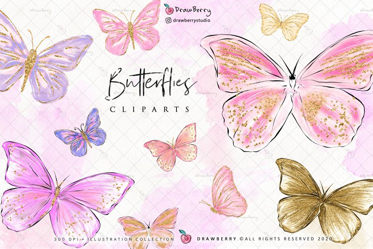 Digital Glitter Butterfly Clipart example image 1