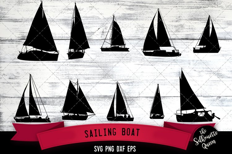 Sail Boat svg file, yacht svg cut file, silhouette studio example image 1