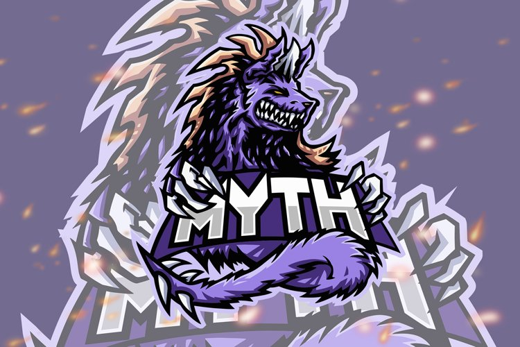 Myth Wolf Animal Esport Gaming Logo