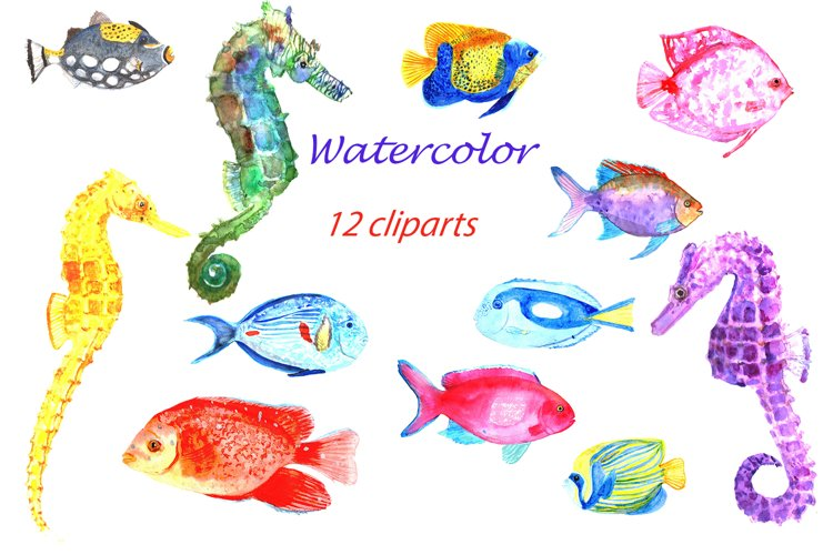 Watercolor fishes Clip Art example image 1
