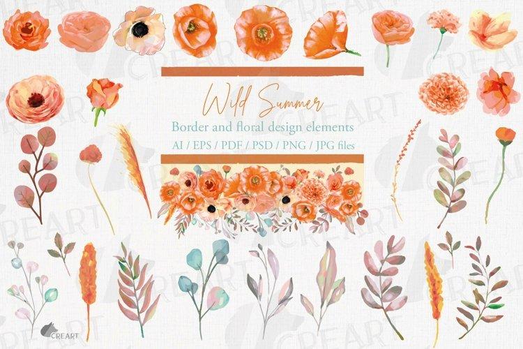 Wild Summer orange floral wedding decor elements collection.