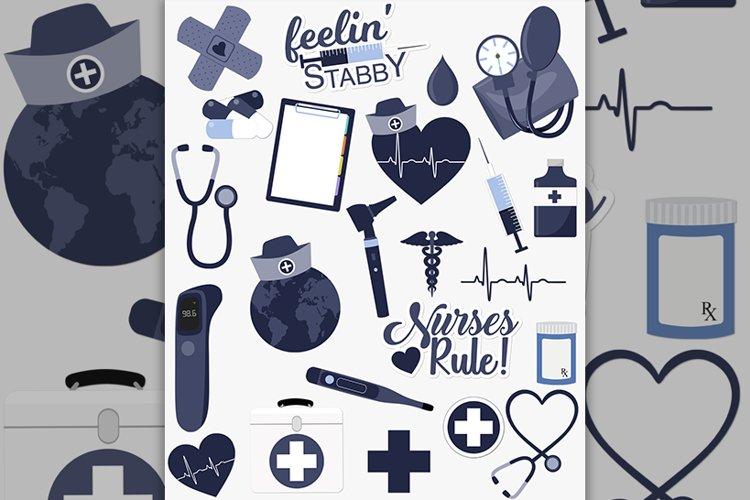 Nursing healthcare clipart set in blue
