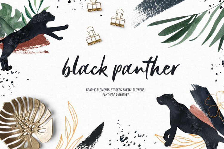 Black Panther clipart watercolor tropical clipart, gold leaf
