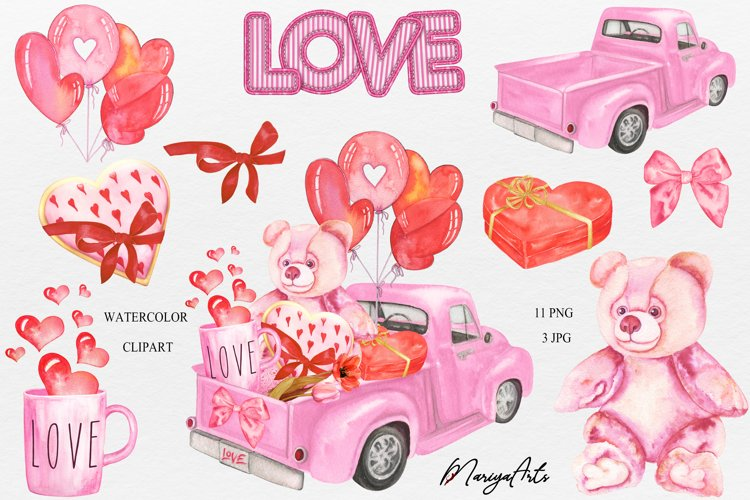 Watercolor Valentines Day Clipart, Pink Teddy Bear, Balloon