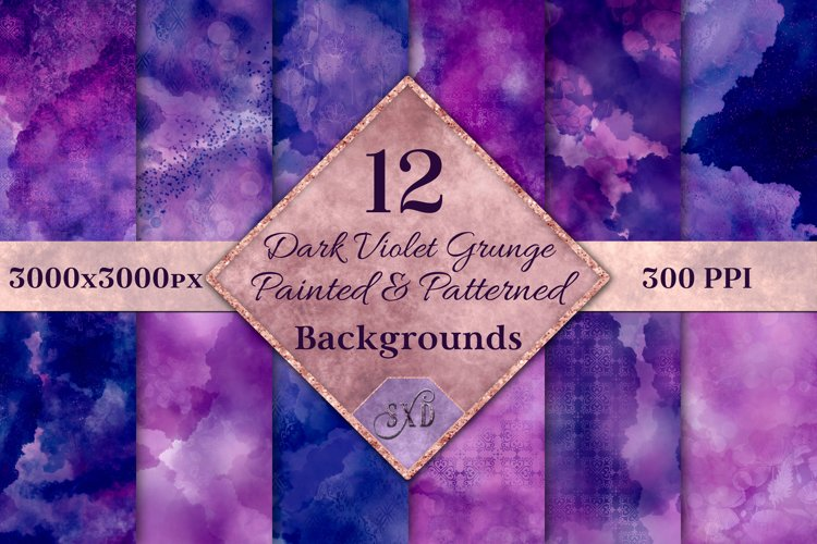 Dark Violet Grunge Painted and Patterned Backgrounds example image 1