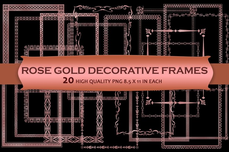 Rose Gold Decorative Frames Clipart example image 1