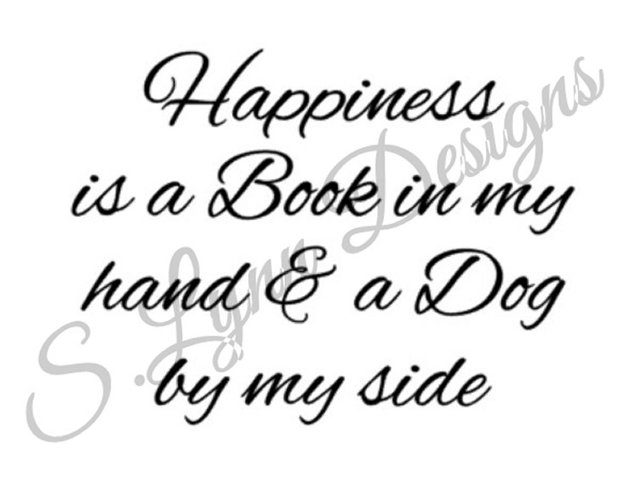 Happiness is a Book and Dog SVG File example image 1