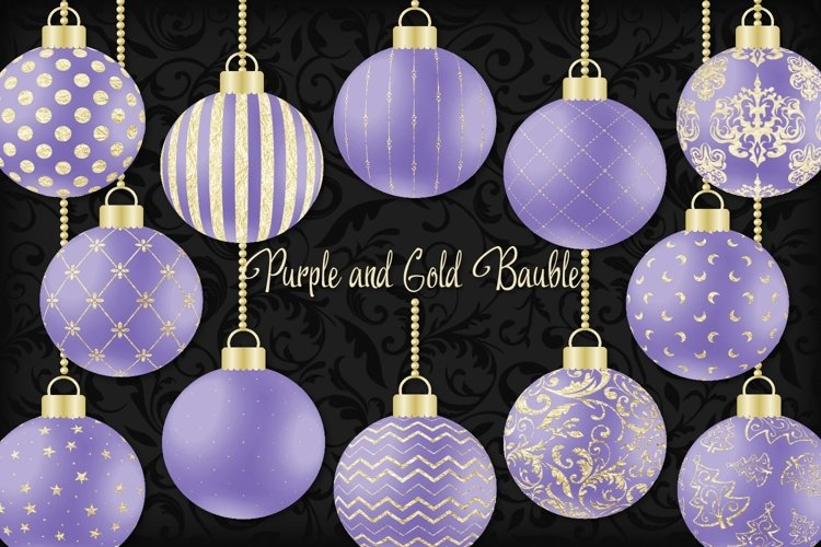 Purple and Gold Christmas Bauble