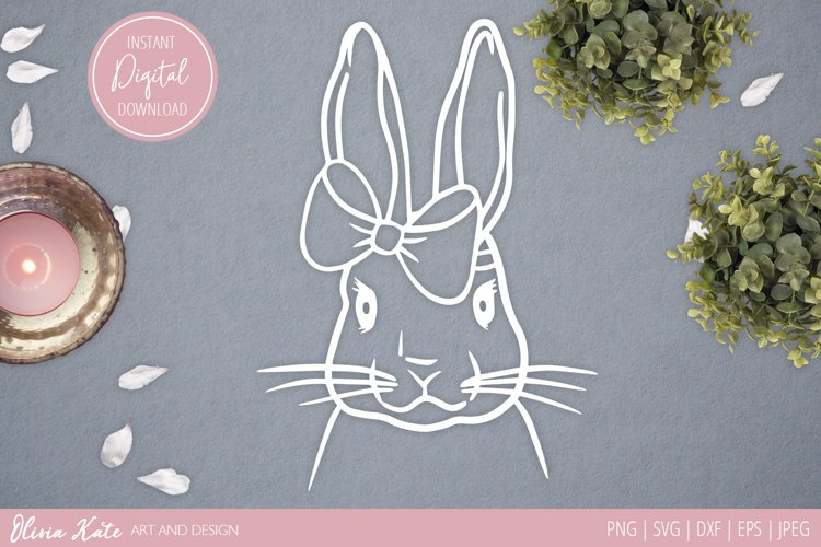 SVG / EPS / DXF / PNG/ JPEG Bunny and Bow Design, Papercut