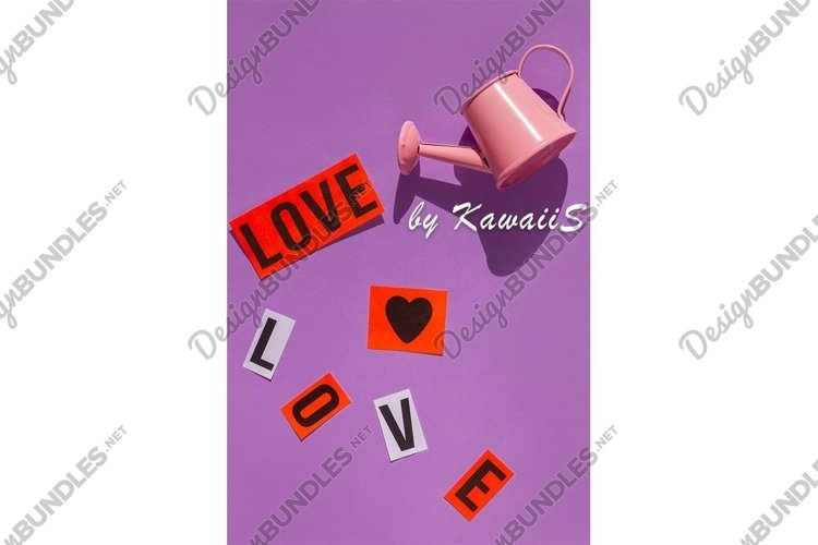 Pink watering can Love sign Valentines Day on pastel purple