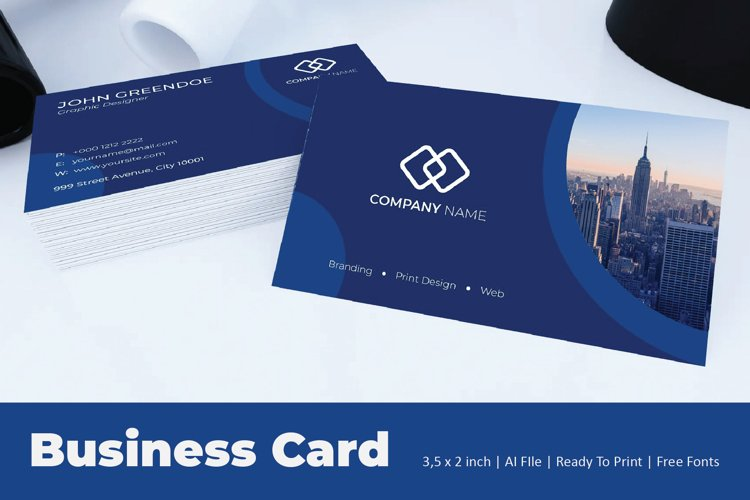 Blue Circular Business Card Template